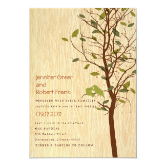 Woodgrain with Love Birds in Tree Invitation