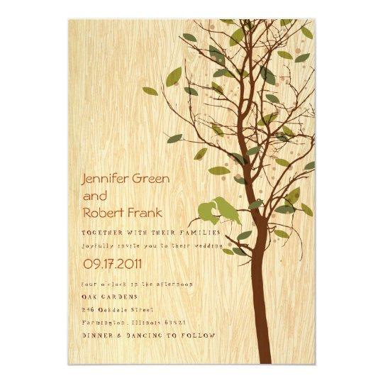 Woodgrain with Love Birds in Tree Invitation