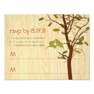 Woodgrain with Love Birds RSVP Card