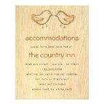 Woodgrain with Love Birds Sketch Info Card Custom Invitation