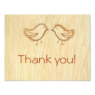 Woodgrain with Love Birds Sketch Thank you Note Card