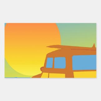 Woodie at Sunset Rectangular Sticker