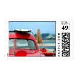 Woodie car at the beach stamp