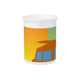 Woodie en la puesta del sol jarras para bebida