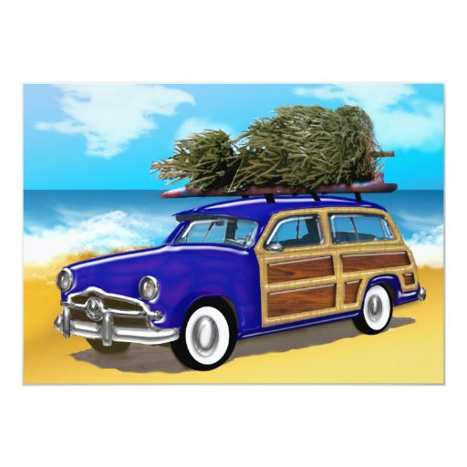 Woodie que practica surf con el árbol de navidad invitación
