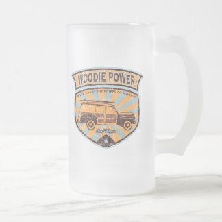 Woodie Wagon 16 Oz Frosted Glass Beer Mug
