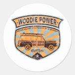 Woodie Wagon Round Sticker