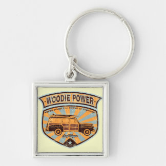 Woodie Wagon Silver-Colored Square Keychain