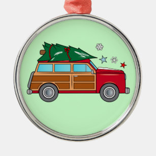 woodie with christmas tree ready to be trimmed metal ornament - Woodies Christmas Decorations