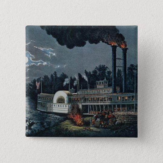 Wooding up' on the Mississippi Pinback Button