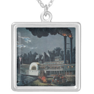 Wooding up' on the Mississippi Silver Plated Necklace