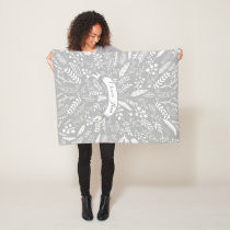 Woodland Adventure Leaf Ferns Pattern Personalized Fleece Blanket