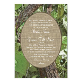 Woodland and Burlap Country Wedding 5x7 Paper Invitation Card