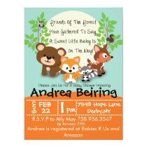 Woodland and Fox Baby Shower Invitation