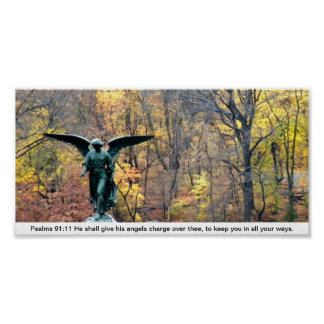 Woodland angle Psalms 91:11 poster