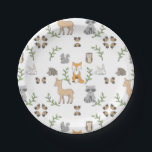 "Woodland Animal acorn pattern Paper plates<br><div class=""desc"">Sweet woodland animal paper plates are perfect for a baby shower or first birthday party.</div>"