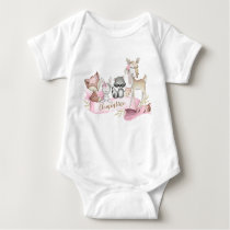 Woodland Animal Baby Girl Personalized Baby Bodysuit