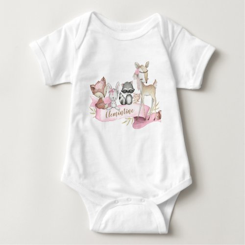 Woodland Animal Baby Girl Personalized Baby Bodysuit