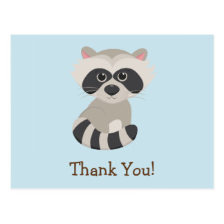 Woodland Animal Baby Raccoon on Blue Thank You Postcard
