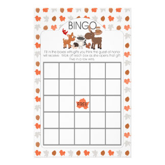 Woodland animal baby shower bingo and purse games flyer