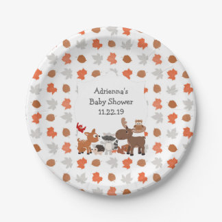 Woodland Animal Baby Shower / birthday party Paper Plate