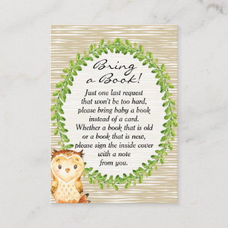 Woodland Animal Baby Shower Book Request Card