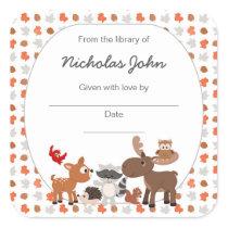 Woodland Animal Baby Shower Bookplates