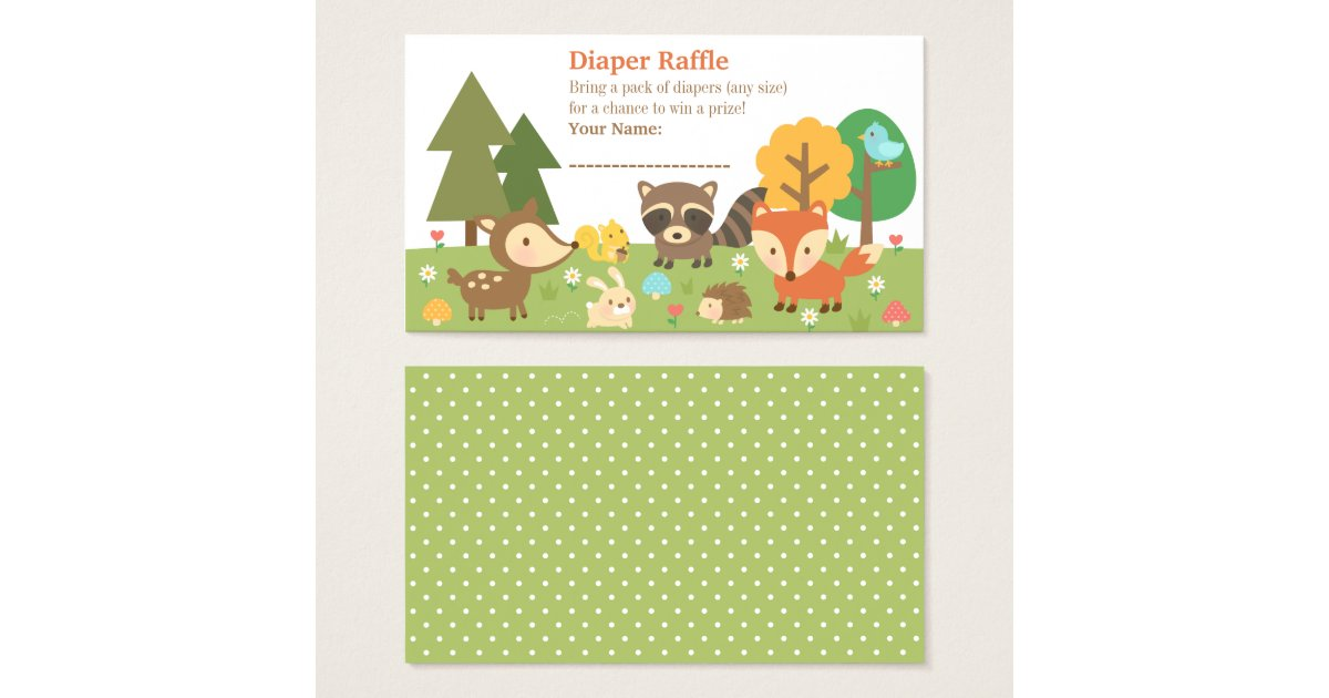 woodland animal baby shower diaper raffle tickets zazzle