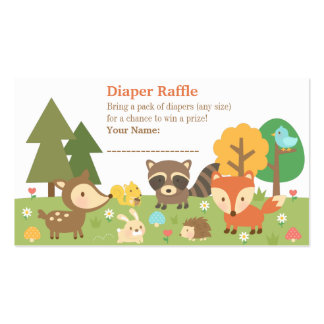Woodland Animal Baby Shower Diaper Raffle Tickets Double-Sided Standard Business Cards (Pack Of 100)