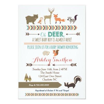 Woodland Animals Baby Shower Invitation Zazzlecom