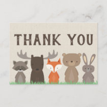Woodland Animal Baby Shower Thank You Cards Flat