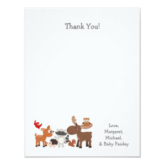 Woodland animal baby shower thank you notes card