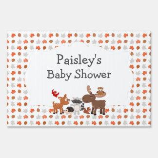 Woodland Animal Baby Shower yard welcome sign