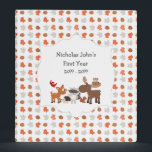 """Woodland Animal baby&#39;s first year scrapbook album Binder<br><div class=""""desc"""">The wording can be changed on this woodland animal binder to whatever you like.  Would make a wonderful new baby gift and coordinates with our Woodland Animal collection - original.</div>"""