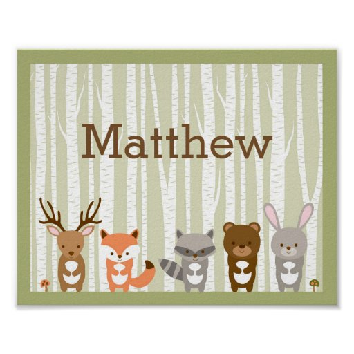 Woodland Animal Birch Tree Nursery Wall Print