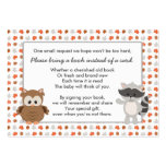 Woodland Animal Book Request / baby shower insert Large Business Card