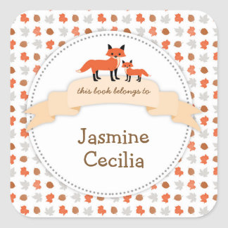 Woodland animal bookplate with mother baby fox square sticker