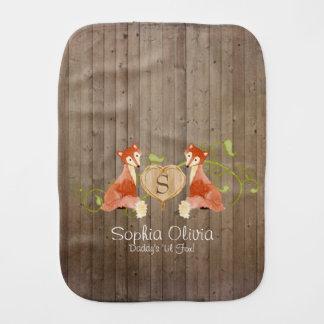 Woodland Animal Creatures, Fox n Vines Newborn Burp Cloth