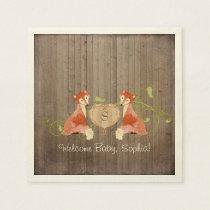 Woodland Animal Creatures, Fox n Vines Newborn Paper Napkin