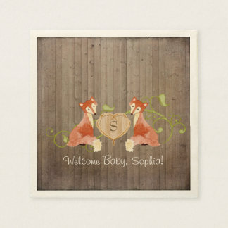 Woodland Animal Creatures, Fox n Vines Newborn Paper Napkin