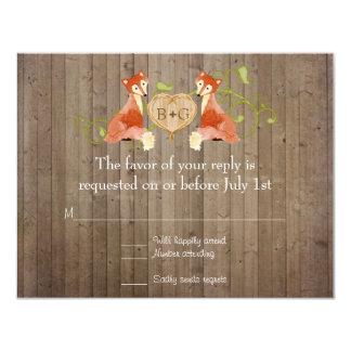 Woodland Animal Creatures, Fox n Vines Weddings Card