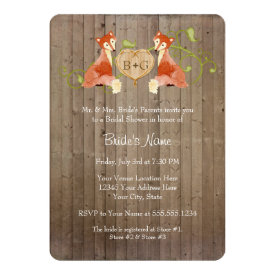 Woodland Animal Creatures, Fox n Vines Weddings 5x7 Paper Invitation Card