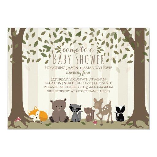 Woodland Animal Family Baby Shower Card