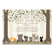 Woodland Animal Family Baby Shower Invitation