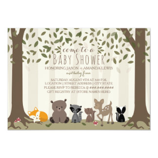 Woodland Animal Family Baby Shower Invitation