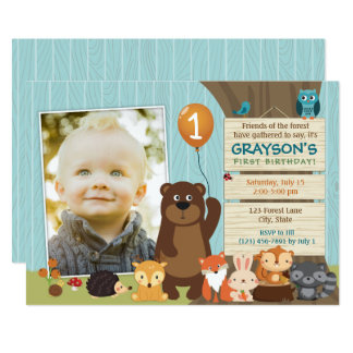 Woodland Animal First Birthday Invitation