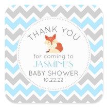 Woodland animal Fox blue baby shower favor Square Sticker