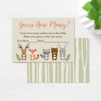 Woodland Animal Guess How Many Game Business Card