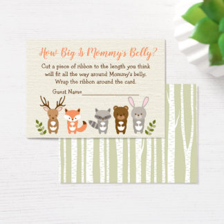 Woodland Animal How Big Is Mommy's Belly Game Business Card