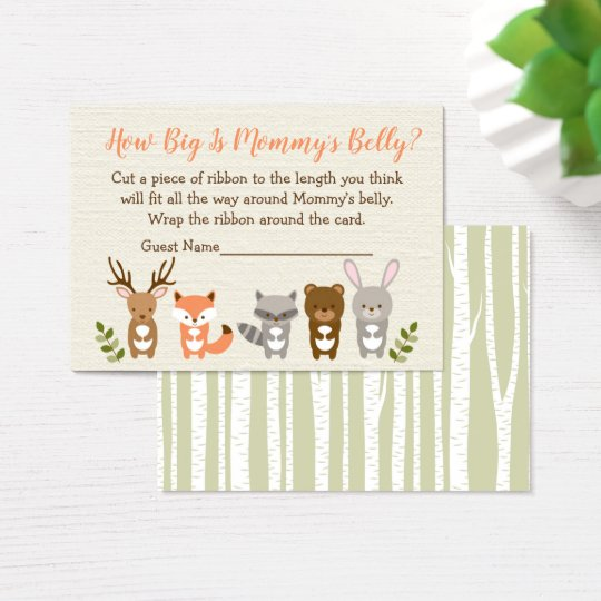 Woodland animal how big is mommys belly game business card zazzle woodland animal how big is mommys belly game business card colourmoves Images
